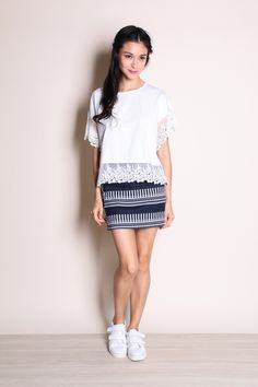 Netted Crochet Trim Top (White) SGD$ 28.00