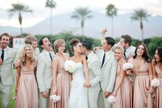 Gorgeous wedding party in rosewater twobirds ballgowns | twobirds Bridesmaid Dress | a real wedding featuring our multiway, convertible dresses