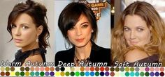 AUTUMN.........................................Kristin Kreuk (center) is considered a classic Autumn because of her overall warm but deep coloring (which flows into Winter). She looks amazing in black, doesn't she? Kate Beckinsale (left) may look like a classic Autumn but her coloring is slightly more muted than Kreuk's, which flows more toward Spring - a Warm Autumn. Drew Barrymore (right) flows the opposite way towards Summer which makes her coloring lighter and softer - a Soft Autumn.