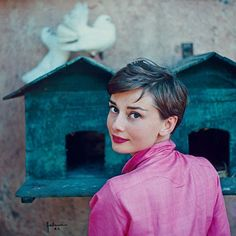 11 Iconic Audrey Hepburn Photos Every Fan Must See  #refinery29  http://www.refinery29.com/2015/06/87205/audrey-hepburn-photos-national-portrait-gallery#slide-5  Hepburn poses in pink for a 1954 LIFE magazine shoot with Philippe Halsman.