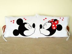 A pair of 2 Standard pillow cases 50 x 70 sm customized with Mickey and Minnie Mouse Kiss pictures. The listing is for TWO pillow cases. Great gift