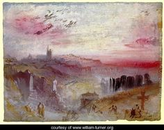 View over Town at Suset: a Cemetery in the Foreground - Joseph Mallord William Turner - www.william-turner.org