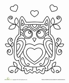 Valentine's Day Kindergarten Holiday Worksheets: Valentine Owl Coloring Page