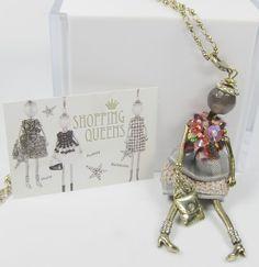PEES SHOPPING QUEEN EMMA 1 Kette 80cm mit Puppen Anhänger Halbedelstein   eBay