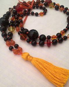 Happymala necklace black red orange and yellow by happymala Handmade Jewelry, Unique Jewelry, Handmade Gifts, Tassel Necklace, Beaded Bracelets, Orange, Yellow, Stone Beads, Jewerly