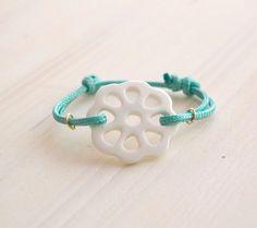 Stunning adjustable porcelain bracelet - porcelain lace bracelet, porcelain jewelry, bridal bracelet, blue wedding bracelet jewelry on Etsy, $50.00