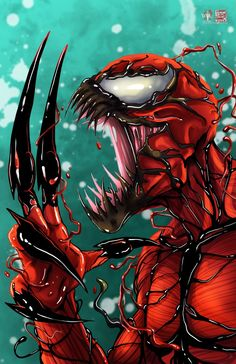 Carnage © Tyrine Carver and Wil Woods of Musetap Studios Get the print at mus. Venom Comics, Marvel Venom, Marvel Villains, Marvel Comics Art, Marvel Characters, Marvel Heroes, Deadpool Wallpaper, Avengers Wallpaper, Spiderman Art