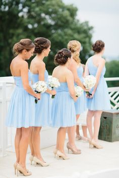 beautiful soft blue bridesmaids dresses | www.onefabday.com | One ...
