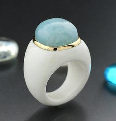 Catawiki Online-Auktionshaus: Aquamarin-Achat-Ring in 585er Gelbgold