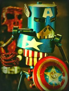 Capitaine America by Martial Levaillant  #Sculpture #RecycledArt