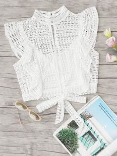 Ruffle Trim Knot Back Lace Top - Blouse designs Crochet Clothes, Diy Clothes, Clothes For Women, Crochet Crop Top, Crochet Blouse, Blouse Styles, Blouse Designs, Cute Fashion, Fashion Outfits