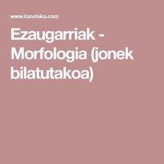 Ezaugarriak - Morfologia (jonek bilatutakoa)