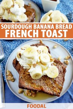 Sourdough banana bread French toast is exactly what it sounds like. It's the most tasty breakfast made from any leftover banana bread you have. Make Ahead Breakfast, Sweet Breakfast, Perfect Breakfast, Banana Bread French Toast, Banana Nut Bread, Brunch Recipes, Breakfast Recipes, Breakfast Ideas, Brunch Ideas