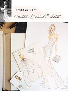 Custom Bridal Illustration Wedding Gift