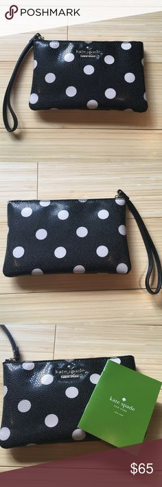 NWT Kate Spade wristlet Black and white polka dot wristlet. Never used kate spade Bags Clutches & Wristlets