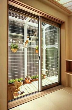 Simple, beautiful take on a cat enclosure for felines who crave a little (safe) fresh air. Porch enclosure for cats. Outdoor Cat Enclosure, Cat Run, Outdoor Cats, Indoor Outdoor, Outdoor Ideas, Cat House Outdoor, Outdoor Cat Cage, Cat Condo, Space Cat