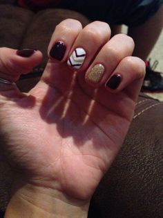 Fall nails. Burgundy & gold gel polish :)