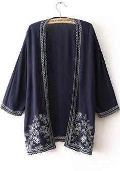 Navy Half Sleeve Embroidered Loose Kimono 19.25