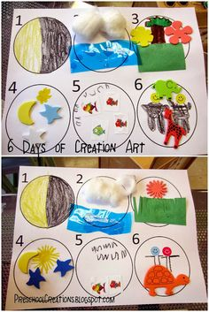 Preschool creations: 6 days of creation activities church activities, kids bible activities, preschool Bible Story Crafts, Bible Crafts For Kids, Vbs Crafts, Bible Stories, Creation Preschool Craft, Preschool Bible Activities, Preschool Ideas, Preschool Church Crafts, Toddler Church Crafts