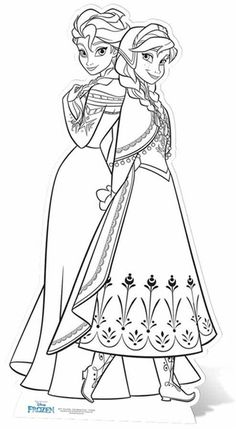 Anna and Elsa Disney Frozen Colour In Lifesize Cardboard Cutout / Standee / Standup - You are in the right place about diy home decor Here we offer you the most beautiful pictures abou - Frozen Coloring Pages, Disney Princess Coloring Pages, Disney Princess Colors, Disney Colors, Cartoon Coloring Pages, Coloring Book Pages, Colorful Pictures, Beautiful Pictures, Coloring Pages For Kids