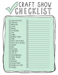 Julie Ann Art: Printable Craft Show Checklist