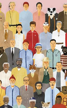 The Wes Anderson Collection includes original illustration by Max Dalton, like this cast of characters from Anderson's films