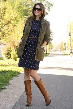 "Love navy polka dots.  always have...and really cute with the casual jacket and boots.   from the amazing ""What I Wore"" blog."