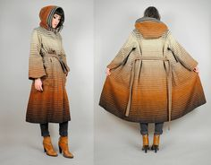 OMG!!!! vtg 70's OMBRE striped WOOL hooded coat blanket by NOIROHIOVINTAGE