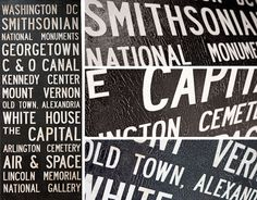 """Large Vintage WASHINGTON, DC  Bus Scroll / Subway Scroll  /  Transit Design - Custom hand painted and distressed, ready to hang 22"""" x 59"""""""