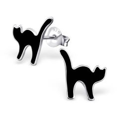 Lovely Black Cat 925 Sterling Silver Ear Studs