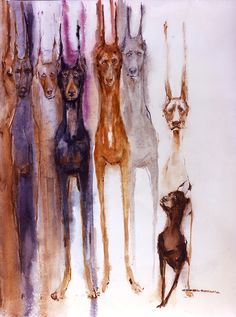 Doberman Dobby Dobbie Watercolor dog prints SIGNED by the artist Carol Ratafia DOUBLE MATTED to 16x20. $44.60, via Etsy.