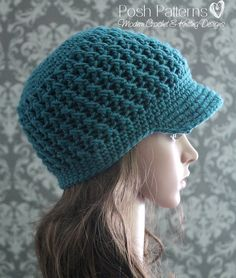 Crochet+PATTERN++Cross+Stitch+Newsboy+Visor+Hat+by+PoshPatterns,+$4.99