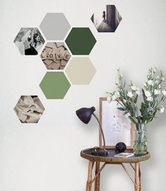 Adhesive Wall Art geometric marble honeycombs, removable hexagon stickers, marble