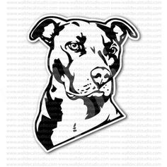 Pitbull Terrier Head Sticker