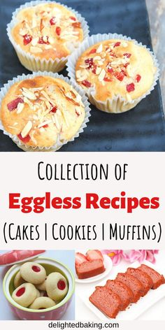 Looking for eggless recipes? Here is a collection of easy and delicious eggless … Looking for eggless recipes? Here is a collection of easy and delicious eggless baking recipes. Eggless cakes, eggless cookies, eggless muffins etc. Eggless Biscuits, Eggless Muffins, Eggless Desserts, Eggless Recipes, Eggless Baking, Baking Recipes, Recipe For Eggless Cake, Baking Substitutions, Baking Breads