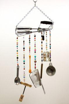 Beaded Wind Chime Art Mobile Faux Chandelier by GrandmasWorkbench, $30.00