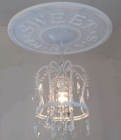 DIY Sweet Dreams Ceiling Medallion by Marie Ricci $34.95 ( quick ship!!) and white crown chandelier $125 www.mariericci.com