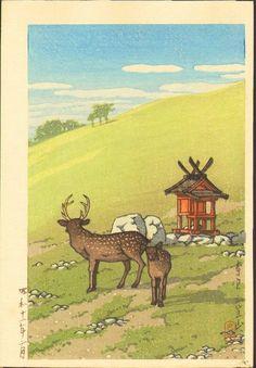 Kawase Hasui Japanese Woodblock Print - Deer and Shrine