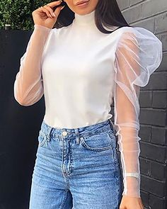 High Neck Sheer Mash Insert Blouse Women's Online Shopping Offering Huge Discounts on Dresses, Lingerie , Jumpsuits , Swimwear, Tops and More. Mode Outfits, Fashion Outfits, Fashion Trends, Style Fashion, Latest Fashion, Puffy Sleeves Blouse, Mode Hijab, Pattern Fashion, Shirt Blouses