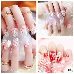 24pcs Fashion 3D Bride Wedding False Artificial Fake Nails Tips French NEW TB | eBay