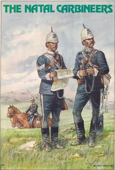 British; Natal Carabiners, Sergeant & Officer, trooper hold horses to rear, 1879 by R.J.Marrion originally printed in Military Modelling