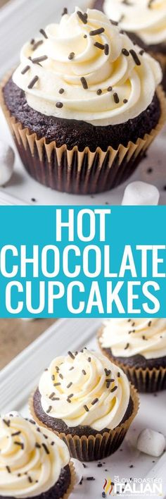 Hot Chocolate Cupcakes are rich, chocolaty and delicious with a glorious marshmallow buttercream on top! It is the perfect recipe to warm you up this winter! Ooey and gooey with every chocolaty marshmallowy bite!