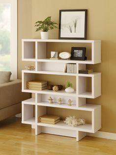 Hokku Designs Celio Three-Tier Bookcase / Display Cabinet in Matte White