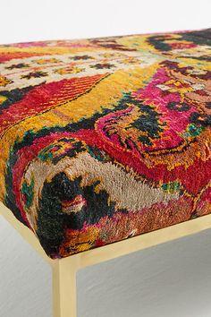 Slide View: 3: Paisley Silk Carpet Ottoman