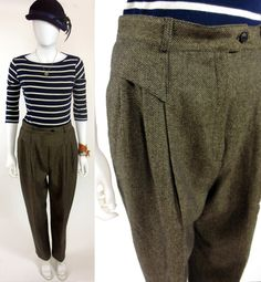 80s The Americans pleat front wool herringbone by thestyleminr