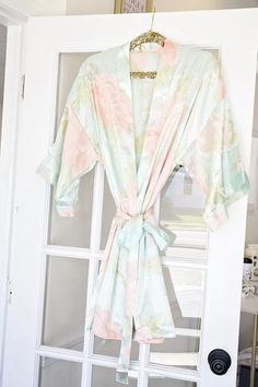 Floral Satin Bridesmaid Robes - Monogram custom bridal party robes