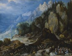 Frederik van Valckenborch ANTWERP 1566 - 1623 NUREMBERG A MOUNTAINOUS VILLAGE LANDSCAPE WITH WATERFALLS, MILLS, A CASTLE ON A HILL, VARIOUS ANIMALS, AND FIGURES IN THE FOREGROUND signed in monogram and dated lower right on a rock: F/ VV/ 1612 oil on copper 11 3/4 by 14 7/8 in.; 29.8 by 37.8 cm.