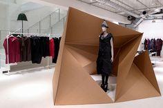 "ISSEY MIYAKE, Tokyo, Japan, ""installation made from cardboard by Ryuji Nakamura"", pinned by Ton van der Veer"