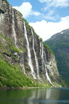 Waterfalls Seven Sisters, Geiranger fjord, Norway. Waterfall Fountain, Holiday Places, Nature Artwork, Beautiful Places In The World, Naturally Beautiful, Stunning View, Amazing Nature, Trip Planning, Wonders Of The World