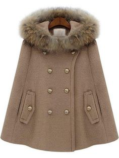 Camel Fur Hooded Double Breasted Pockets Cape Coat - Sheinside.com by Keep @Luvocracy |